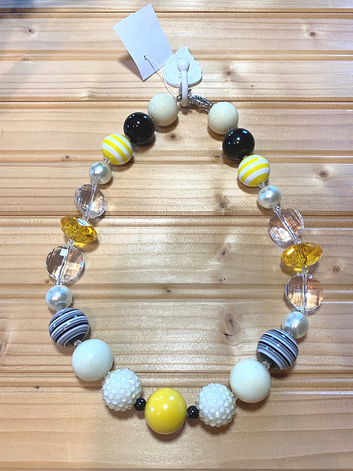 "19"" Chunky Yellow n Black Necklace"