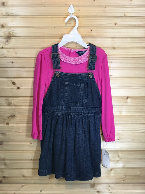Size 5 Girls CHAPS New Dark Pink Overall Dress Set