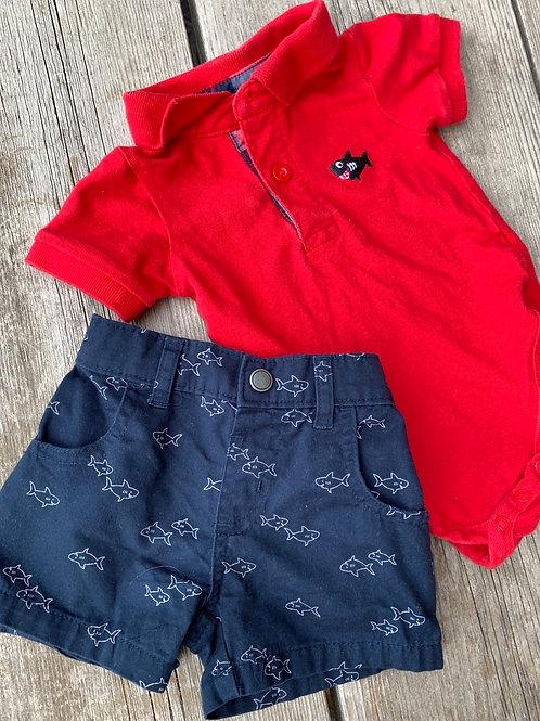 Size 0-3m GARANIMALS Shark 2pc Outfit