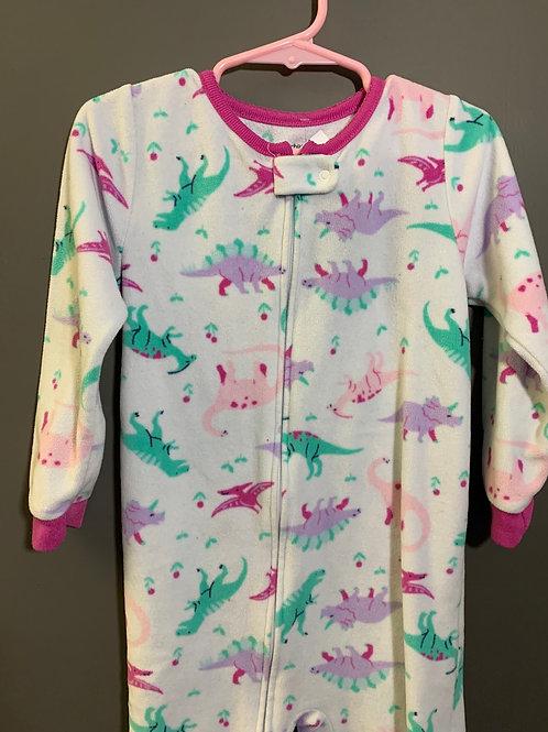 Size 4T Kids CARTER'S Pink Dinosaur Fleece Footie Pajama