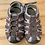 Size 6 Little Kids Grey and Red Sandals