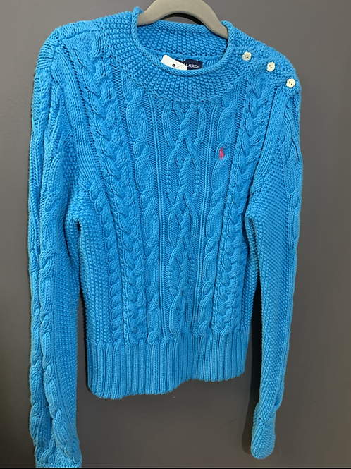 Size 8-10 RALPH LAUREN Blue Cable Sweater