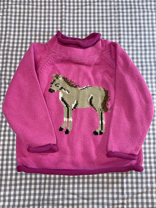 Size 2T LL BEAN Pink Knit Horse Sweater