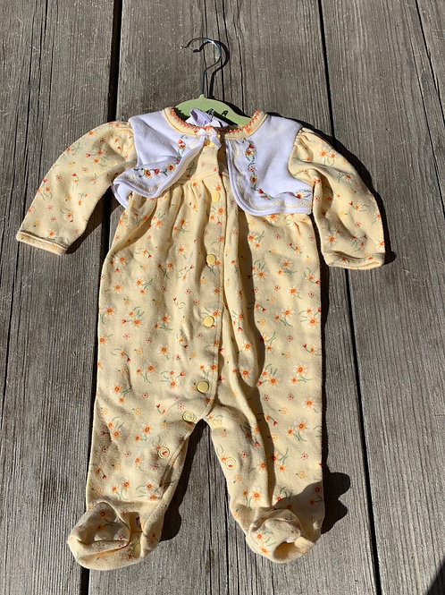 Size NB LITTLE ME Yellow Daisies PJ, Used