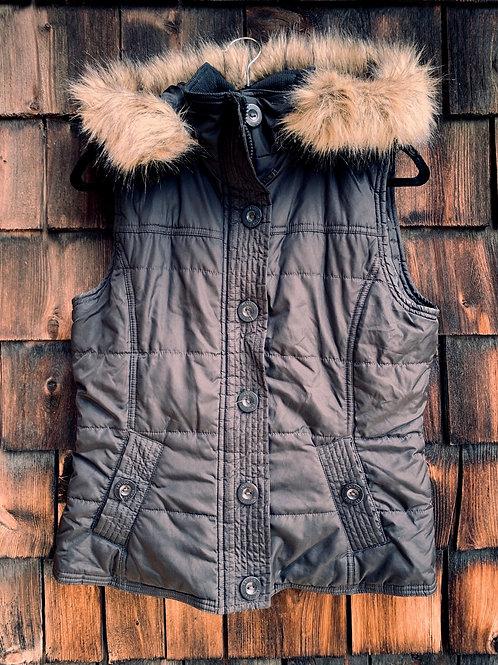 Size L TATTOO Black Puff Hood Vest