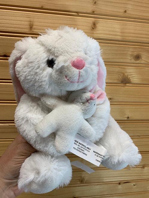 White Bunny and Baby Stuffed Animal, Used