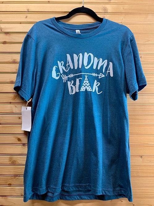 Size Large Women's Blue Grandma Bear Shirt