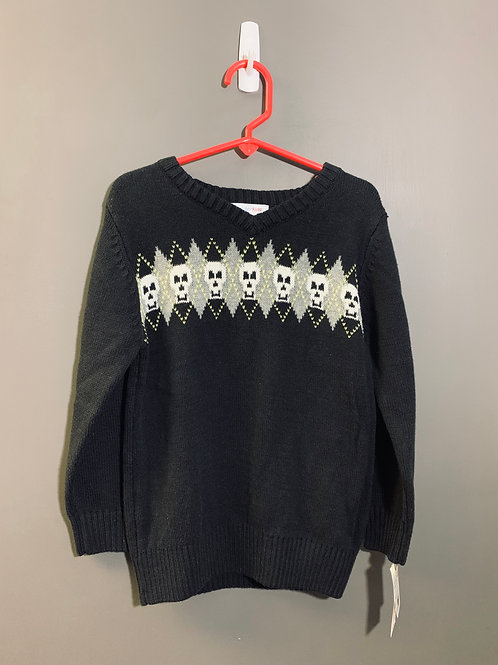 Size 5T WONDERKIDS Black Argyle Skull Halloween Sweater