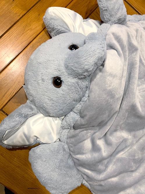 Plush Grey Elephant Floor Mat