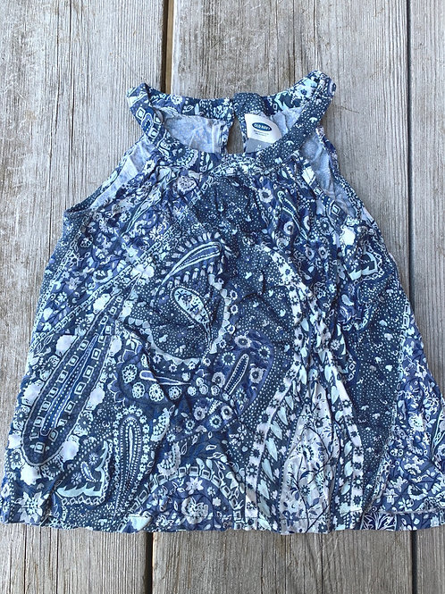 Size 8 Girls OLD NAVY Blue Paisley Top, Used