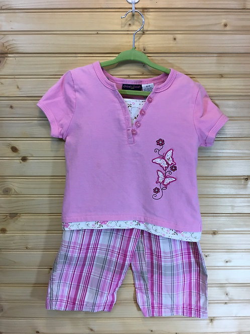 Size 5/6 Kids CHLOE'S CLOSET Pink Plaid Butterfly 2pc Outfit