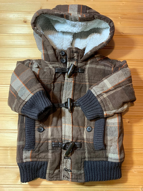 Size 6-12m OLD NAVY Brown Plaid Coat