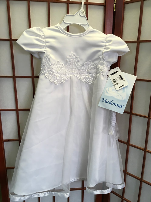 Size 9-12m MADONNA Girl's Baptismal Christening White Gown