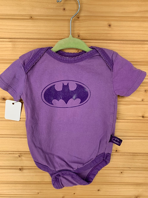 Size 3-6m DC COMICS Purple Batman Onesie with Sparkle, Used