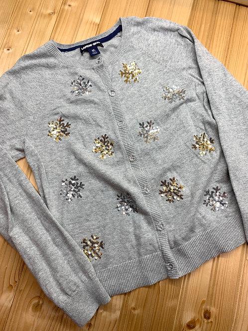 Size 10/12 LANDS' END Grey Sequin Snowflake Cardigan