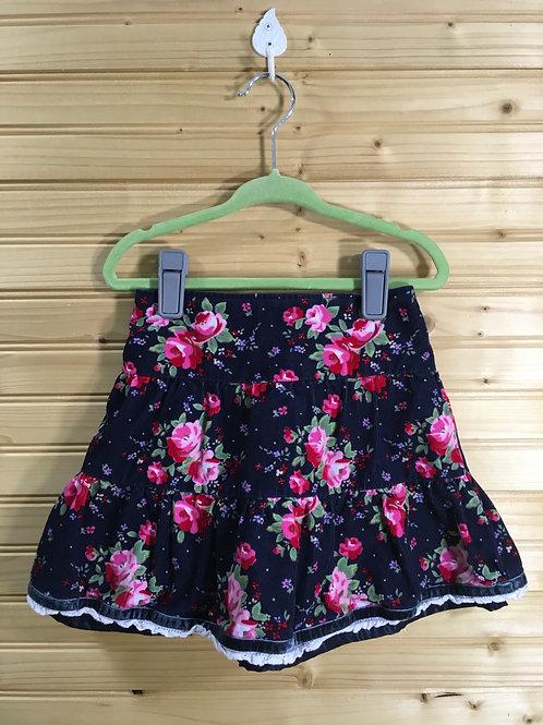 Size 4T Girls OSHKOSH Navy Corduroy Layered Skirtwith Roses