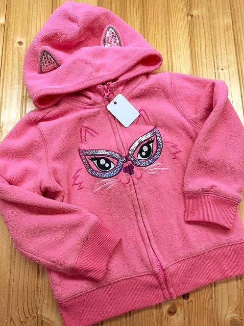 Size 3T TOUGHSKINS Pink Glitter Kitty Hoodie
