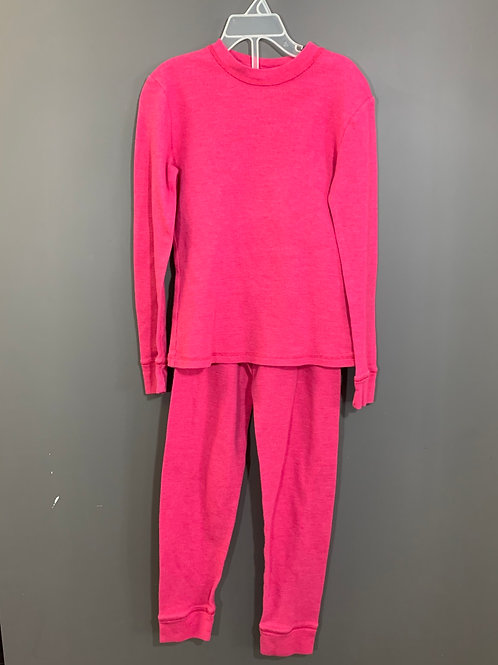 Size 7/8 Kids CHEROKEE Hot Pink Long Johns, Used