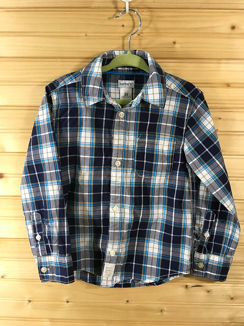 Size 3T CARTER'S Blue Plaid Button-Down Shirt