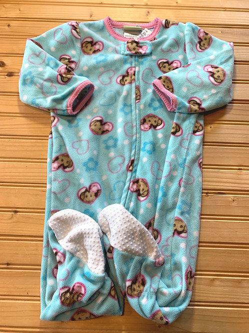 Size 18m PEAS N CARROTS Blue Monkey Fleece Footie PJ, Used