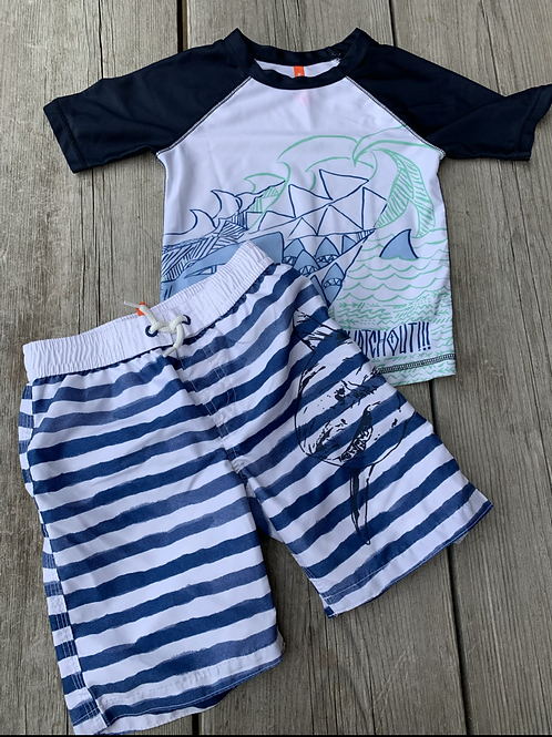 Size 5 Shark Swim Trunk Set