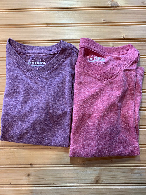 Size 6/7 BASIC EDITIONS Soft Purple and Red V-neck Tees, Used