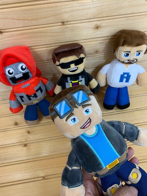 TUBE HEROES 4 Minecraft Plush Toys, Used