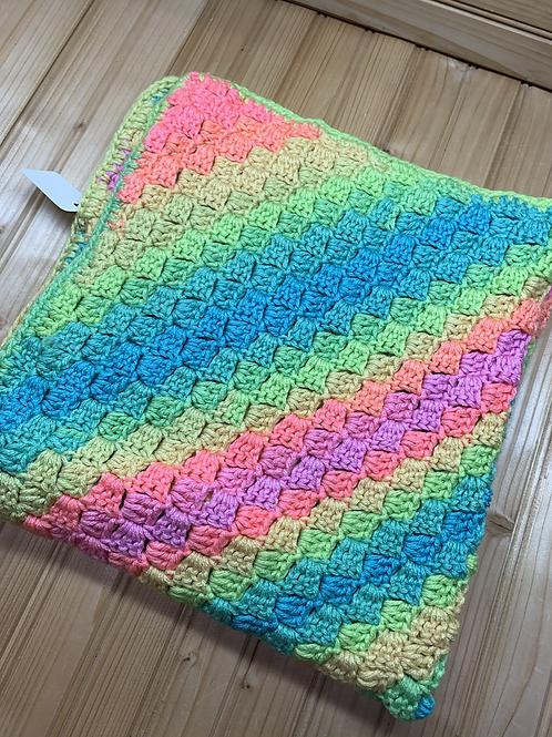 "Neon Rainbow 26""x26"" Crochet Baby Blanket"