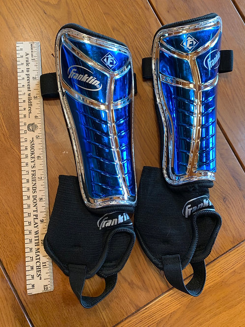 Size M FRANKLIN Blue and Silver Soccer Shin Guards