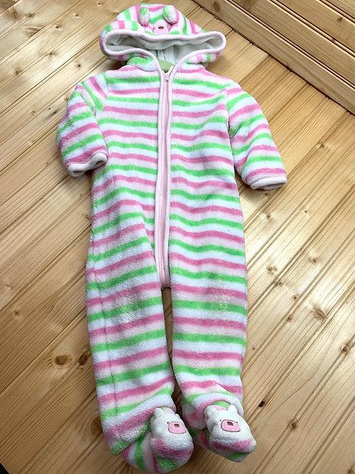 Size 6-9m ABSORBA Fuzzy Striped Fleece Bear Bunting
