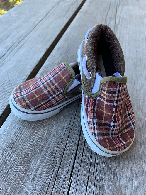 Size 6 Toddler Brown Plaid Shoes