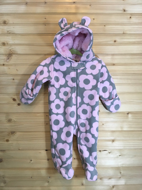 Size 3m CARTER'S Pink and Grey Flower Fleece Bunting Suit