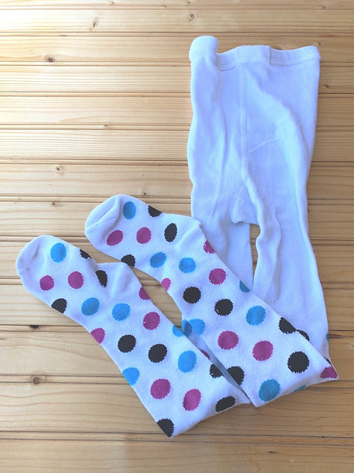 Size 1-3Y White Tights with Circles