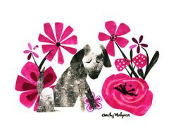 Perro y sus flores
