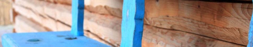 Blaue Holzbank - Bio Romper