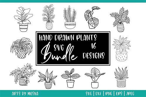Hand drawn plants svg bundle