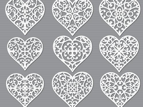 Decorative Heart Cut Template Svg