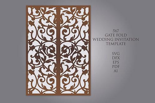 Gate Fold Laser cut Wedding Invitation Svg Template