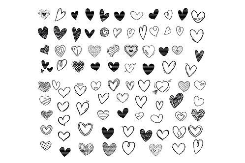 Hand Drawn Doodle Heart Svg Bundle Clip Art
