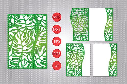 Monstera Leaf Tropical Laser Cut Wedding Invitation Svg Template