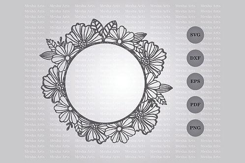 Circle Floral Frame Paper Cut Design