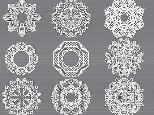 Round Mandala Laser Cut Stencil Template Svg Bundle