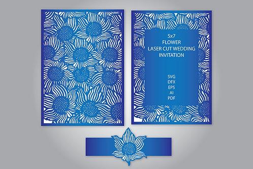 Floral Laser Cut Card Wedding Invitation Svg Template