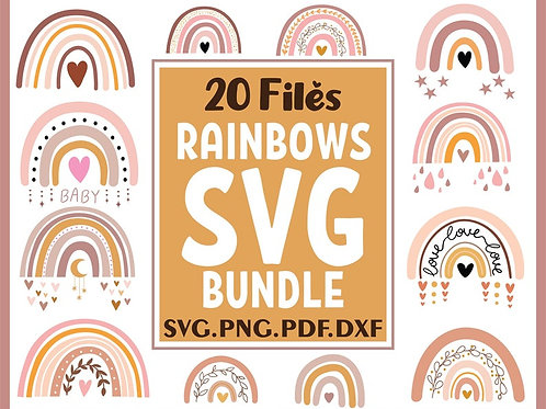 Boho Rainbow Svg Bundle