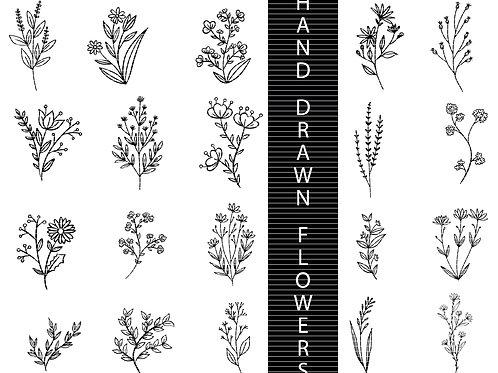 Hand Drawn Flowers Svg