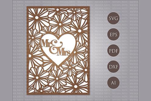 Floral Laser Cut Wedding Invitation Svg Template