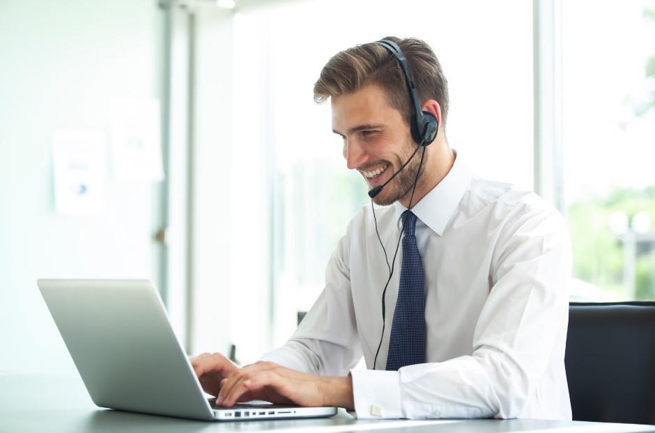Man offering online customer service