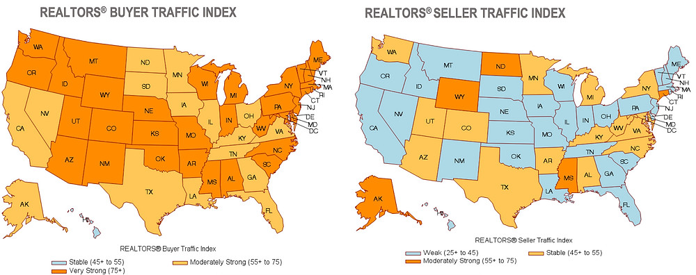 Chart of the US showing the current homebuyer and home seller traffic