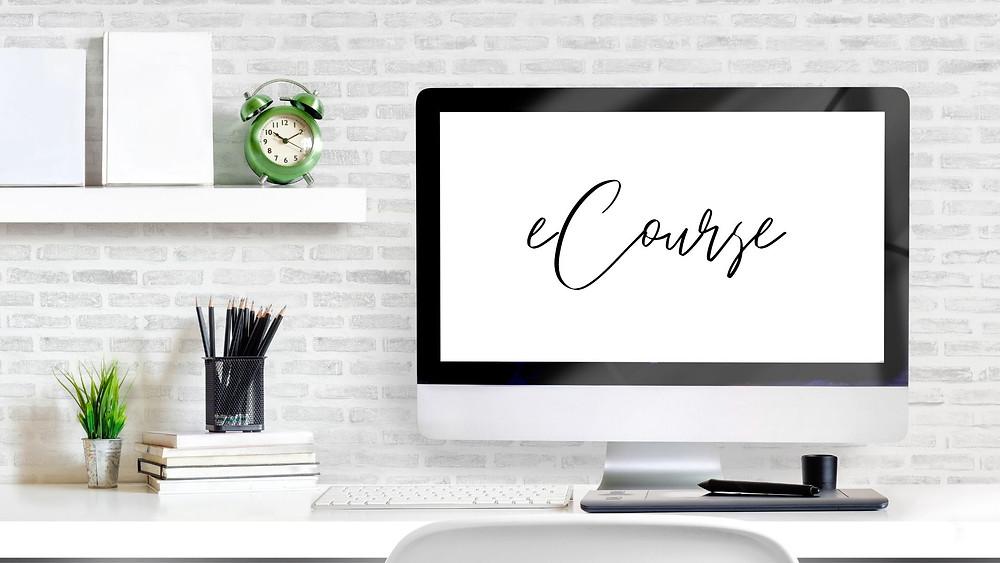 eCourse printed on computer