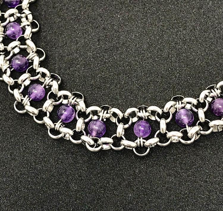 Amethyst and steel sensory necklace